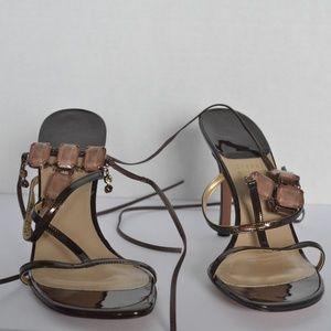 STUART WEITZMAN Strappy Ankle Sandals w/pink stone